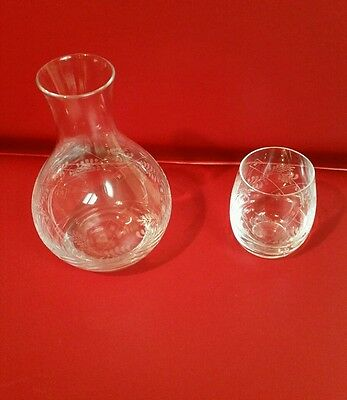 Bedside Decanter Carafe and Tumbler with Leaf Design - Tumble Up