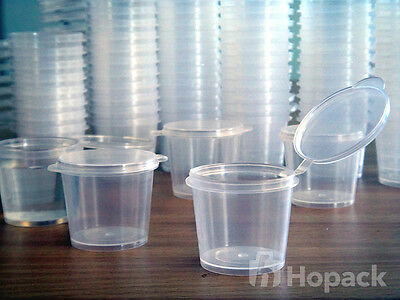 600 #pp100 01Oz Plastic Clear Portion Cup Hinged-Lid=100% Australia Stock=