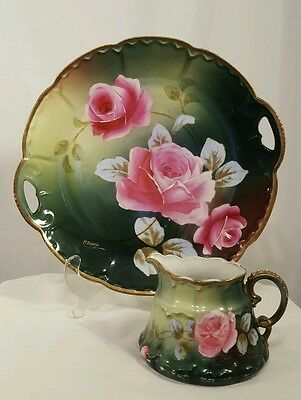 """Vintage 11"""" Imperial Austria Plate AND Cup Signed C Dupuy, Green with Pink Roses"""