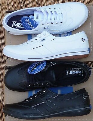 a225a6d32f58b KEDS WOMENS WHITE or BLACK LEATHER MEMORY FOAM SNEAKERS ORTHOLITE INSOLE  LIST 40