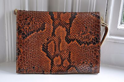 Vintage Real Snakeskin Handbag Brown with Cream Leather