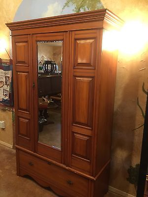 Antique Armoire Wardrobe Closet Handmade Netherlands Wood Lined Collectible