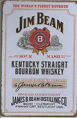 "Metal Tin Sign 30 x 20 cm "" Jim Beam White "" Wall Plaque Decoration"