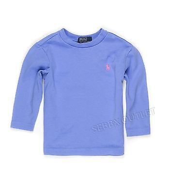 New Girls POLO Ralph Lauren Long Sleeve Shirt Blue Size 12 Months