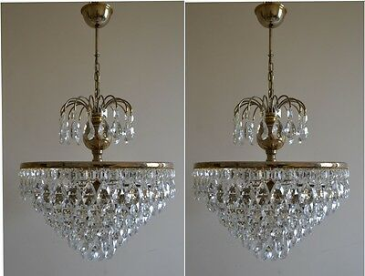 Pair of Vintage French Basket Style Brass & Crystals Chandelier Antique Lamp