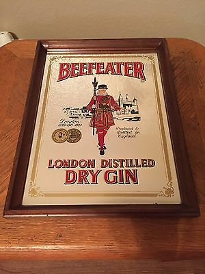 VINTAGE BeefEater London Distilled Dry Gin Mirror w/Frame *Please Look*