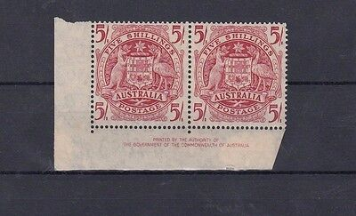 Australia Pre Decimal MUH PAIR with Imprint - 5/- ARMS