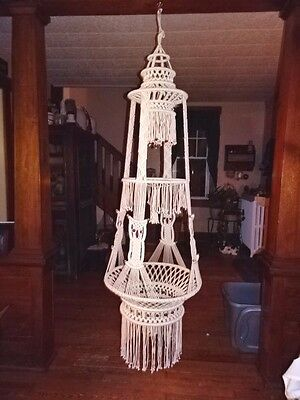 "Vintage 78"" Owl Macrame Hanging Table Beads Hanger Glass Not Included 70's"