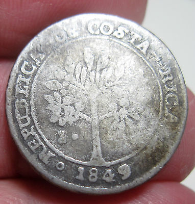 1849 (COSTA RICA) 1 REAL (SILVER) --very very scarce ----- FAMALE / COFFEE TREE-
