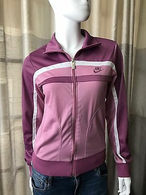 Vintage 1980's Nike Medium Pink Purple Mauve Track Jacket Blue Tag Women's