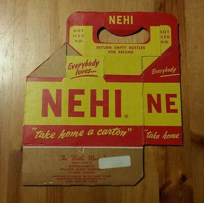 Rare Vintage Nehi Six Pack Cardboard Bottle Carrier Caddy - Excellent Condition!