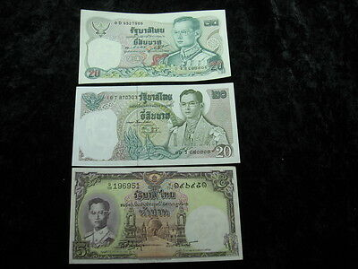 3 assorted old world foreign currency banknote money lot THAILAND baht
