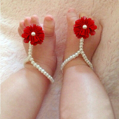 Soft Elastic Pearl Flower Ankle Bracelet Baby Toddler photography Fashion Anklet