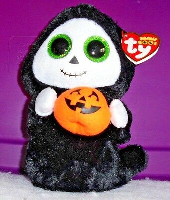 """TREATS 6"""" Ghost Glitter Eyes MWMTS Ty Beanie Boo Collectible Plush + FREE Gift"""