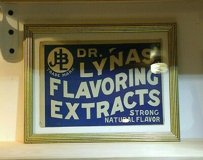 VINTAGE Advertising Sign Dr. Lyna's Flavoring Extract Framed Antique