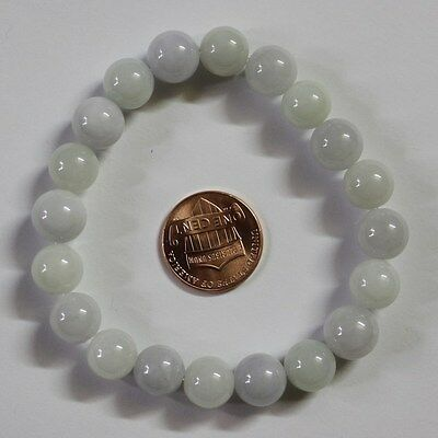 Certified Natural Untreated Light Lavender & Light Green Jadeite Beads Bracelet