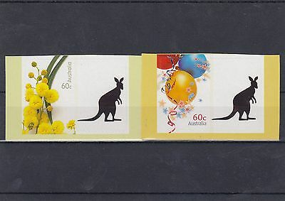 Australia 60c Personalised Tab Stamps x 2 different with Kangaroo Tab Scarce