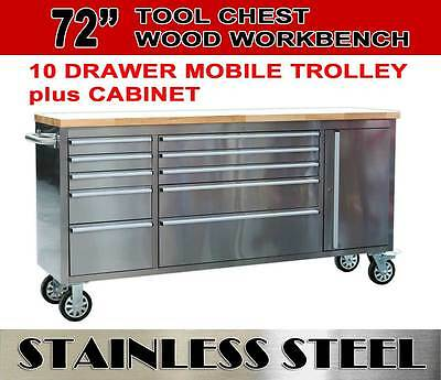 "72"" Mechanic Tool Chest Trolley Rolling Tool Box Wooden Top Workbench 10 Drawers"
