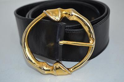 Gucci Black Leather Gold Buckle Belt Size 100