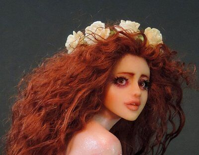 "ooak art doll fairy mermaid ""Kai"" fantasy hand sculpture by artist Saahra Shaver"