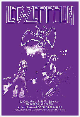 LED ZEPPELIN 1977 Indianapolis Concert Poster