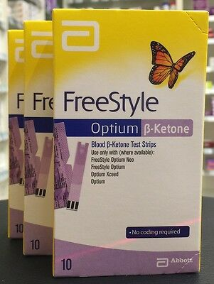 Abbott FreeStyle Optium Blood ß-Ketone Test Strips x 3 boxes = 30 strips