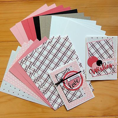 """Prairie Check Designer Card & Paper Pack Pinks Brown 20 Shts A5 """"reduced"""" New"""