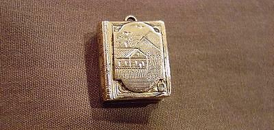 Victorian Gold Filled Figural Book Charm /Pocket Watch Fob W/ Engraved Scene