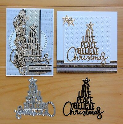 Kaisercraft Christmas Word Tree Joy Love Peace Believe Cutting Die - Bnip