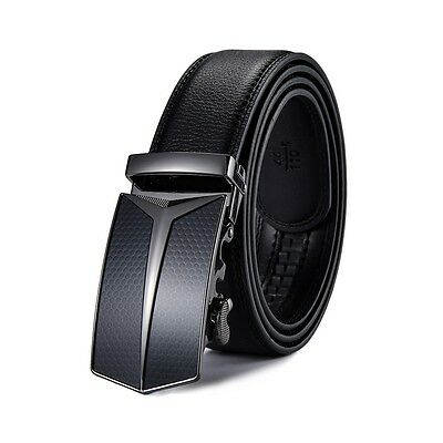Fashion Men's Automatic Buckle Belt Genuine Leather Ratchet Waistband Mens Gift