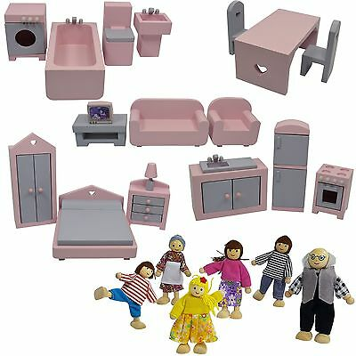 New Wooden Doll House Furniture set 1/12 Scale 18pcs & 6 Dolls Pretend Play