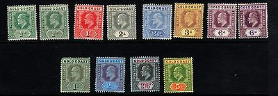 GOLD COAST-1907-13 complete set incl shades to 5/- Sg 59-68 - MNH & LHM
