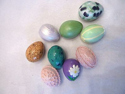 Set of 9 hand painted Decorative Hollow Ceramic Easter Eggs some Glazed