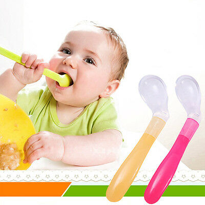Soft Silicone Safety Baby Feeding Spoon Kids Spoon Baby Feeder Flatware Gift