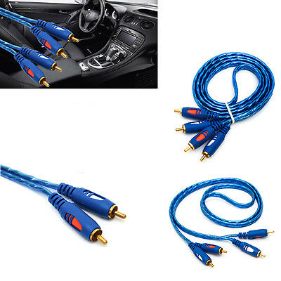 1.5M Gold Plated 2 RCA To 2 RCA M To Male Video Cable Dual Stereo Audio AV For T