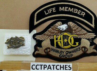 Harley Davidson Owners Group Hog Pin & Life Member Patch