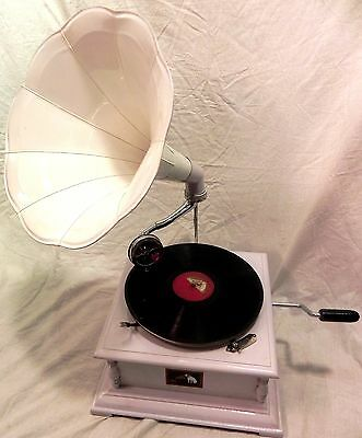 Gramophone Phonograph Fully Functional White Color Horn Sound Box With Needles