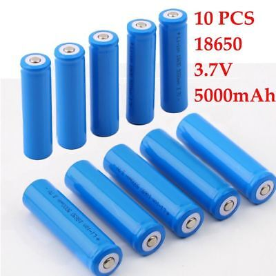 10 X 18650 5000mAh 3.7V Rechargeable Battery For LED Torch Flashlight bher