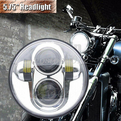 """5.75"""" 5-3/4"""" Projector Chrome Round Hi Lo Motorcycle LED Headlight for Harley"""