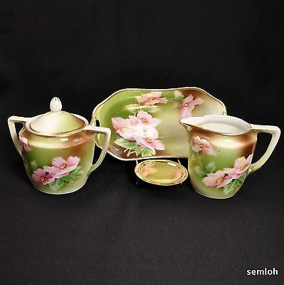 Weimar GERMANY Sugar Creamer Tray HANDPAINTED Pink POPPIES 1905-1924 Green GOLD