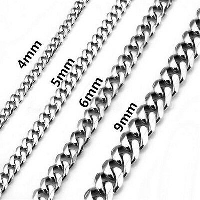 "4/5/6/9mm 316L Stainless Steel Hexagonal Curb Chain Necklace 18""-26"" Men Women"