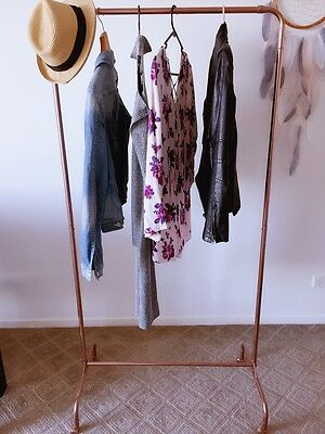 Industrial copper rose gold garment clothing display rack