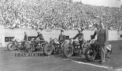 Harley-Davidson 1940's line-up motorcycle Soldier's Field Chicago photo racing