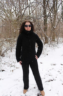 New Hand Knit Mohair Pants,Sexy Union Suit,Black,Thick and Fuzzy,Handmade