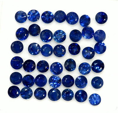 1.11 CTS Natural Blue Sapphire Round Cut 2 mm Lot Blue Shade Loose Gemstones