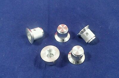 "5 Alco knob KNS-501A 1/4"" shaft Silver Skirted Aluminum Knobs Made in Japan"