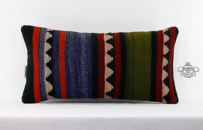 "Aztec Lumbar Kilim Pillow Vintage Turkish Kelim Cushion Cover 10x20"" Pillowcase"