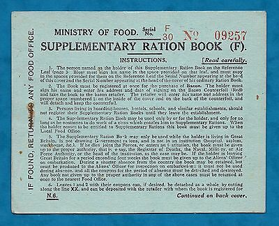 1918 Unused Wwi Era Supplementary Ration Book - Blaby Food Office, Leics
