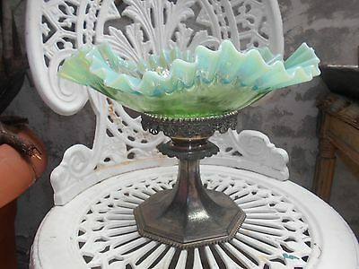 superb opalescent glass centerpiece glass bowl on silver pedestal plated base
