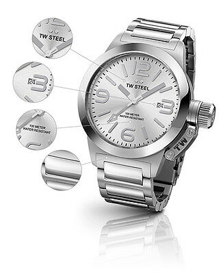 TW Steel Canteen Silver Dial Stainless Steel Watch